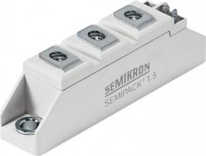 Module Thyristor/Diode SEMIPACK SKKH 92/16 E SEMIPACK® 1 Thyristor / Diode Modules   VRRM 1600 V  ITAV 97 A  Part Number: 07898071 Net unit weight: 0.095 kg Tariff Number: 85413000 Country of Origin: Slovakia Manufacturer: SEMIKRON