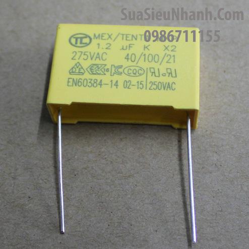 Tên hàng: Tụ 1.2uF 275VAC; Mã hàng: MKP-X2_1.2uF275VAC