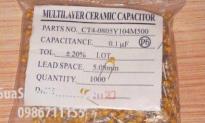 Tên hàng: Tụ tantalum vàng 104 0.1uF 100nF 50V;  Mã hàng: CAPC104T;  Thông số: Khoảng cách bước chân 5.08mm;