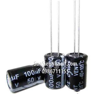 Tên hàng: Tụ hóa 100uF 50V 100uF 8x12mm;  Kiểu chân: cắm;