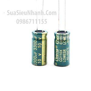 Tên hàng: Tụ hóa 3300uF 10V 3300uF 10x20mm;  Mã: CAPP-3300uF10V
