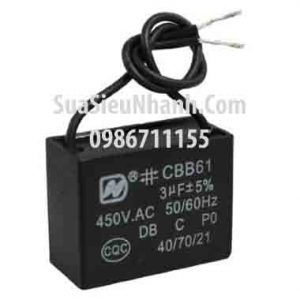 Tên hàng: Tụ 3uF 450VAC 2 dây;  Mã: CBB61_3uF450VAC;  Dùng cho: vật tư quạt điện;  Tag: tụ quạt 3uF 450VAC