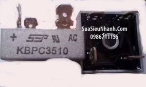 Tên hàng: KBPC3510 Cầu chỉnh lưu 35A/1000V;    Thương hiệu: SEP;    Hàng tương đương: cầu đi ốt 35A/1000V, cầu diode 35A/1000V, chỉnh lưu cầu 35A/1000V
