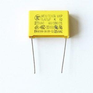 Tên hàng: Tụ 0.47uF 275V 474K MEX MKP-X2 22.5mm;  Mã: MKP-X2_474K22.5mm