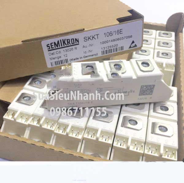 Tên hàng: SKKT106/16E SKKT106-16E SKKT106/16 E Thyristor kép 106A 1600V; Mã: SKKT106-16E; Thương hiệu: SEMIKRON; xuất xứ: chính hãng; Dùng cho: vật tư biến tần, vật tư khởi động mềm
